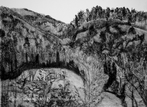 black and white drawing overlook western north carolina