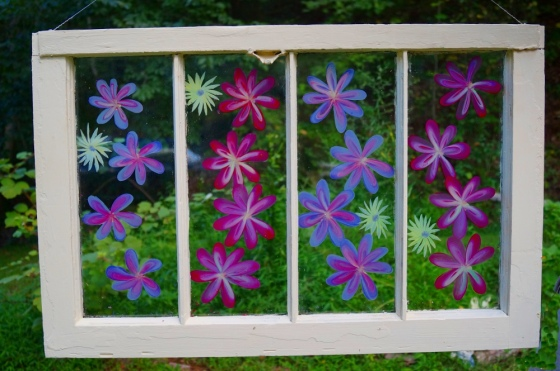 Painted flowers on old window