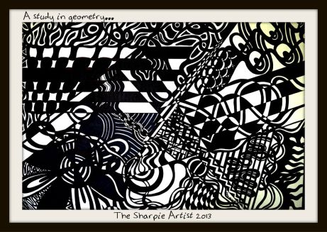 "A Study in Geometry Sharpie on Paper 18""x24"" April 2013"